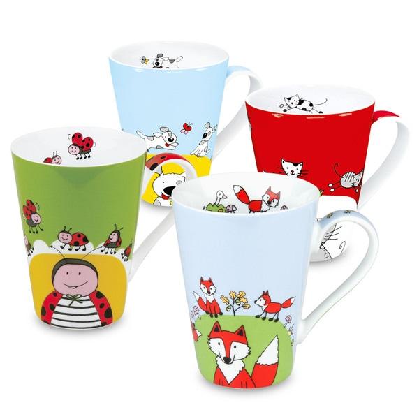 Waechtersbach Globetrotter Animals Fox/ Cat/ Dog/ Ladybug Mugs (Set of 4)