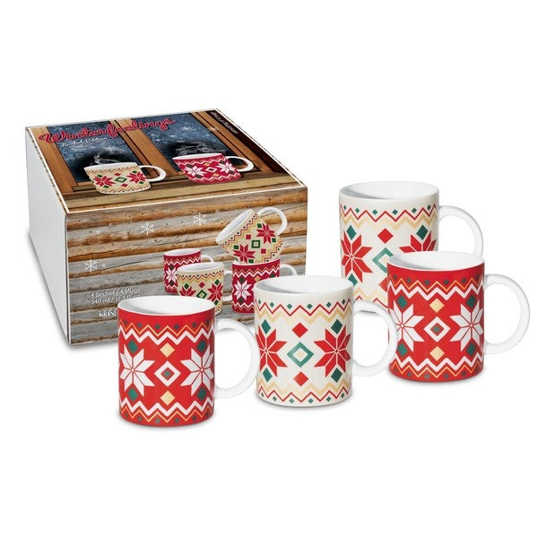Konitz Winter Feelings Holiday Mugs (Set of 4)