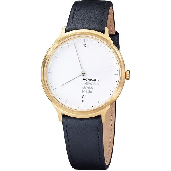 Mondaine Unisex MH1L2211LB 'Helvetica No. 1 Light' Black Leather Watch