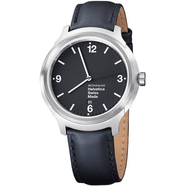Mondaine Men's MH1B1220LB 'Helvetica No. 1 Bold' Black Leather Watch