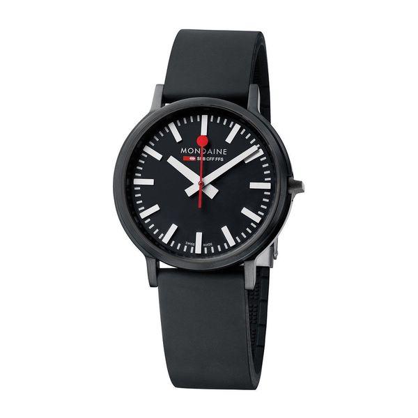 Mondaine Men's A5123035864SPB 'Swiss Railways Stop2go' Black Leather Watch