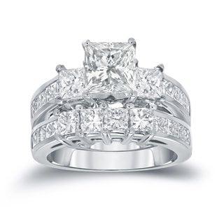 Auriya 14k Gold 3ct TDW Princess-Cut Diamond Bridal Ring Set (H-I, SI1-SI2)