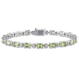 Miadora Sterling Silver Peridot and Diamond Accent Tennis Bracelet