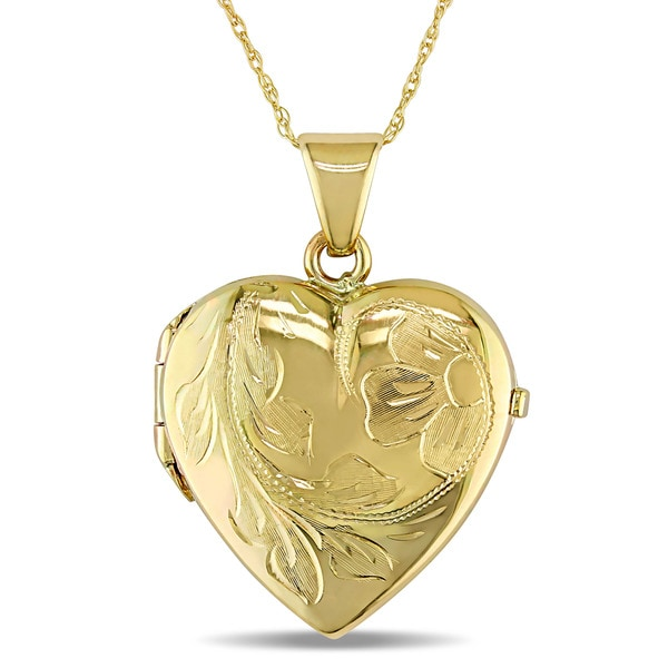 Miadora 10k Yellow Gold Heart Locket Necklace