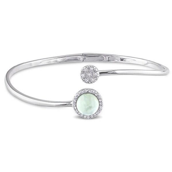Miadora Sterling Silver Prehnite, White Topaz and Diamond Accent Circle Cuff Bangle Bracelet