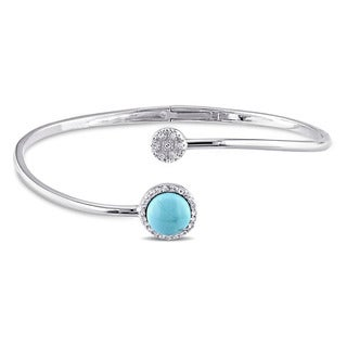 Miadora Sterling Silver Turquoise, White Topaz and Diamond Accent Circle Cuff Bangle Bracelet