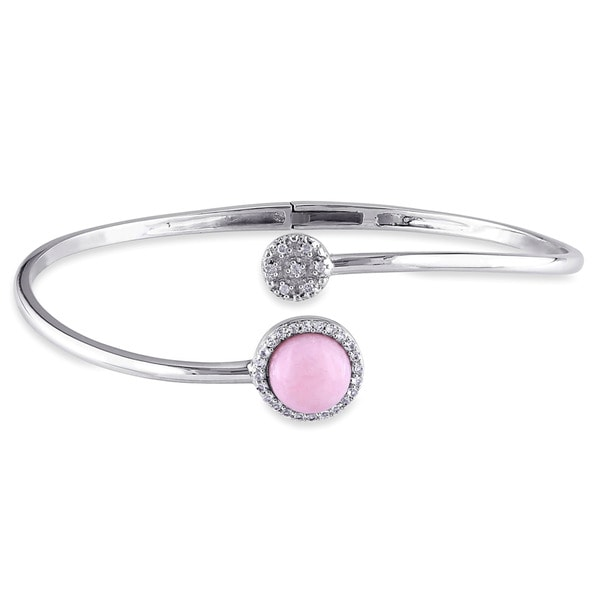 Miadora Sterling Silver Pink Opal, White Topaz and Diamond Accent Circle Cuff Bangle Bracelet