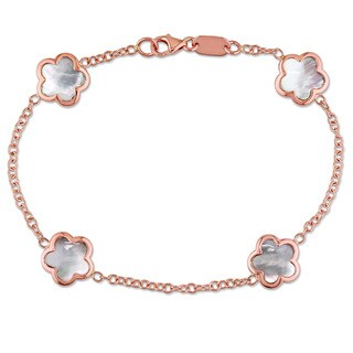 Miadora Signature Collection 18k Rose Gold Mother of Pearl Flower Station Bracelet