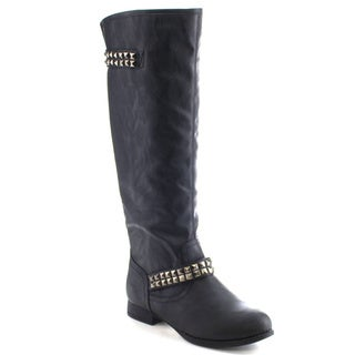 Wild Diva T0SCA-100 Women's Stylish Studded Zipper Knee High Riding Boots