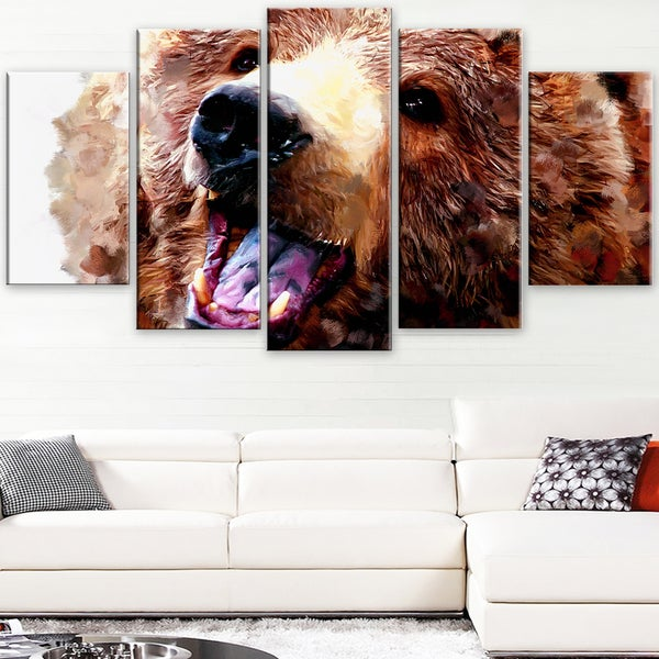 Design Art 'Happy Brown Bear' Canvas Art Print - 60Wx32H Inches - 5 Panels