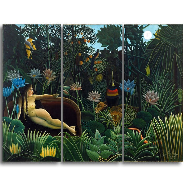 Design Art 'Henri Rousseau - Le Reve' Canvas Art Print - 36Wx32H Inches - 3 Panels