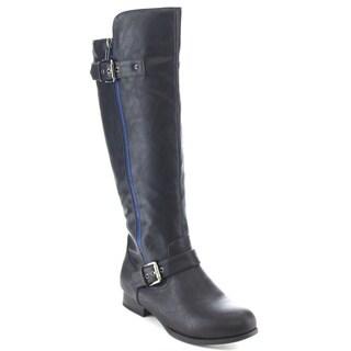 Wild Diva TOSCA-187A Women's Knee High Flat Buckle Zipper Riding Boots