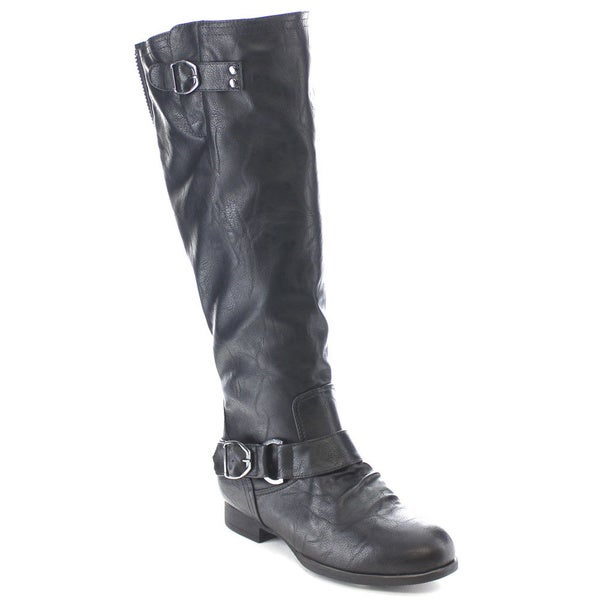 Wild Diva TOSCA-188 Women's Side Buckle Strap Knee High Flat Riding Boots
