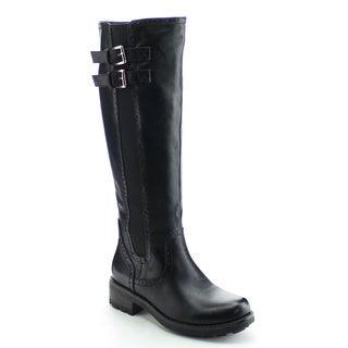 DAVICCINO AA04 Women's Side Zip Buckle Strap Elastic Knee High Riding Boots