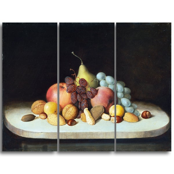 Design Art 'Robert Seldon Dunc - Still Life with Fruits and Nuts' Canvas Art Print - 36Wx32H Inches - 3 Panels 16304755