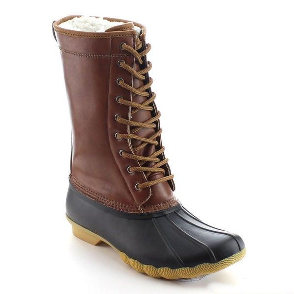 DAVICCINO AA12 Women's Lace Up Waterproof Duck Mid Calf Rain Winter Boots