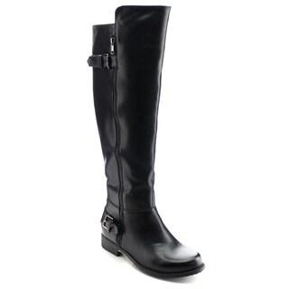 DAVICCINO AA29 Women's Buckle Strap Side Zip Flat Heel Knee High Riding Boots