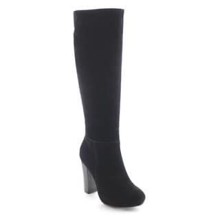 DAVICCINO AA36 Women's Side Zipper Chunky Heel Over the Knee High Dress Boots