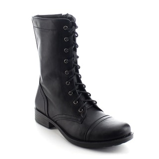 DAVICCINO AA41 Women's Lace Up Military Side Zip Flat Heel Mid Calf Boots