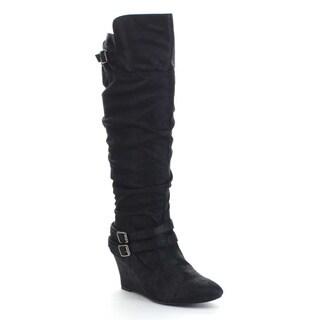 QUPID VALLEY-07 Women's Slouchy Buckle Strap Wedge Heel Side Zip Knee High Boots