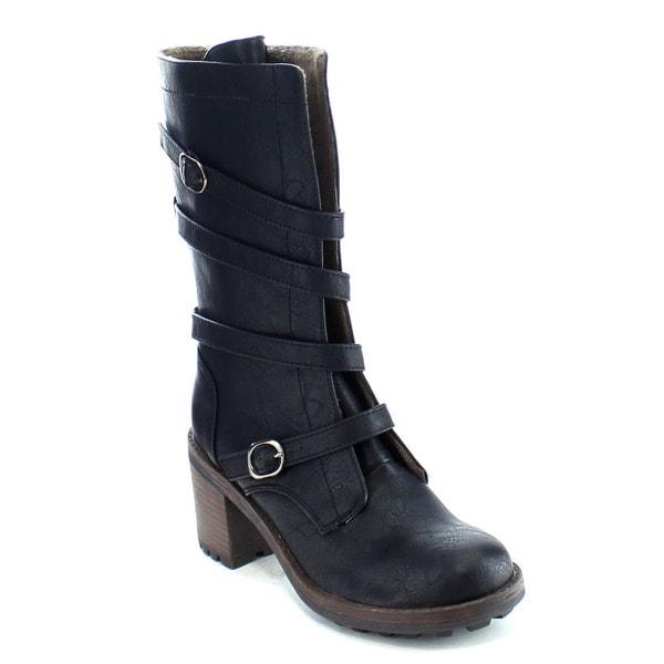 Da Viccino CA11 Women's Strap Buckle Block Heel Mid Calf Military Boots