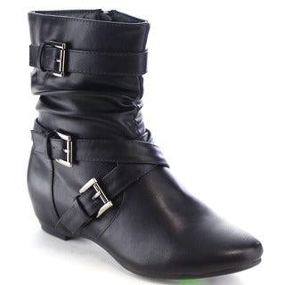 Da Viccino CA15 Women's Buckle Strap Hidden Wedge Mid Calf Slouch Boots