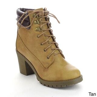 DAVICCINO AA01 Women's Lace Up Lug Sole Collar Chunky Ankle Working Booties