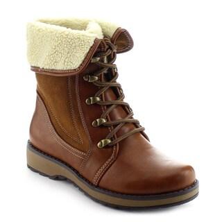 DAVICCINO AA09 Women's Faux Fur Cuff Lace Up Flat Heel Combat Ankle Booties
