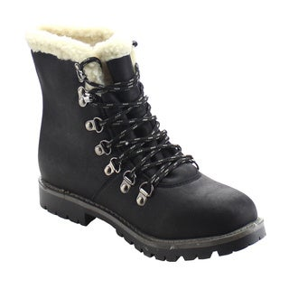 DAVICCINO AA10 Women's Lace Up Lug Sole Flat Heel Faux Fur Ankle Warm Booties