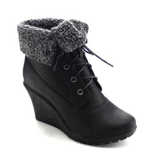 DAVICCINO AA23 Women's Lace Up Fold Over Collar Wedge Heel Ankle Booties