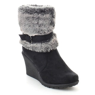 DAVICCINO AA25 Women's Faux Fur Lug Sole Side Zipper Wedge Heel Ankle Booties