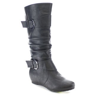 Wild Diva CANDIES-15 Women's Stylish Low Heel Knee High Buckle Riding Boots