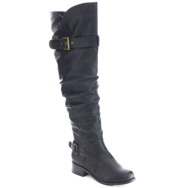 Wild Diva MADRID-55 Women's Slouchy Chunky Heel Buckle Knee High Riding Boots