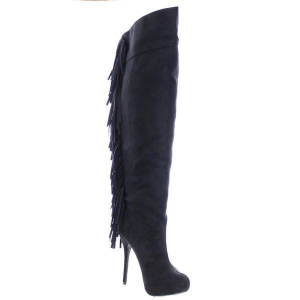 Wild Diva SONNY-214 Women's Fringe High heel Platform Over the Knee High Boots