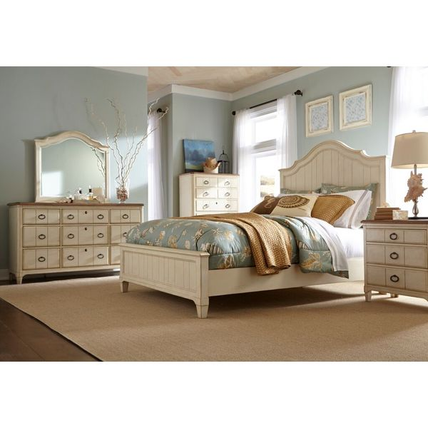 Panama Jack Millbrook Buttermilk Queen Panel Bed and 9-Drawer Dresser with Mirror, 3-Drawer Nightstand and 5-Drawer Chest