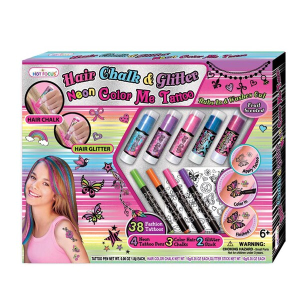 Hot Focus Hair Chalk and Glitter Neon Tattoo Mega Set