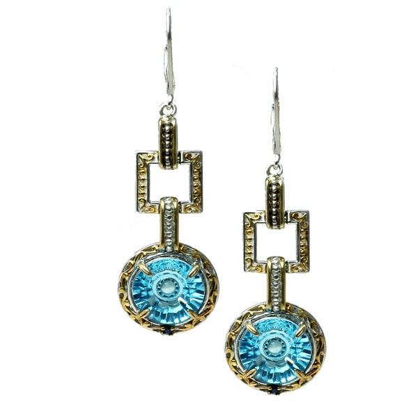 Michael Valitutti Palladium Silver Ceylon Blue Topaz & Sapphire Earrings