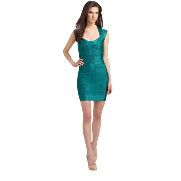 French Connection Teal Blue Spotlight Bandage Cap Sleeve Knit Dress