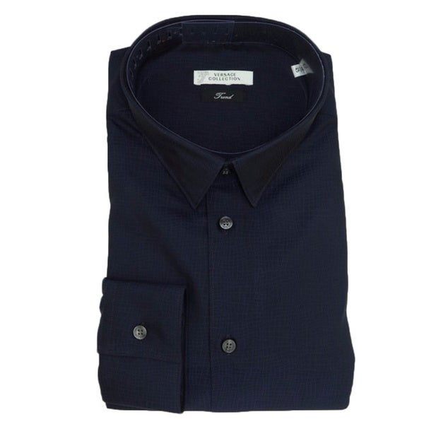 Versace Collection Navy Blue 100-percent Cotton Long Sleeve Shirt
