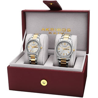 Akribos XXIV 'His & Hers' Japanese Quartz Crystal-accented Stainless Steel Bracelet Watch