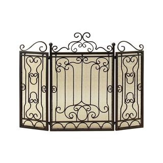 Bronze Three Panel Fireplace Screen