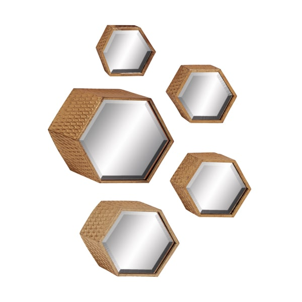 Hexagonal Bronze Mirrors (Set of 5)