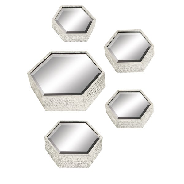 Hexagonal Silver Mirrors (Set of 5)