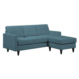 Portfolio Luca Caribbean Blue Linen SoFast Sectional Sofa with Reversible Chaise