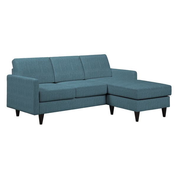 Portfolio luca caribbean blue linen sofast sectional sofa for Blue sectional with chaise