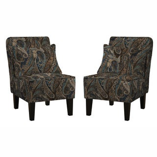 angelo:HOME Jules Soft Velvety Paisley Blue Armless Chair and Pillows (Set of 2)