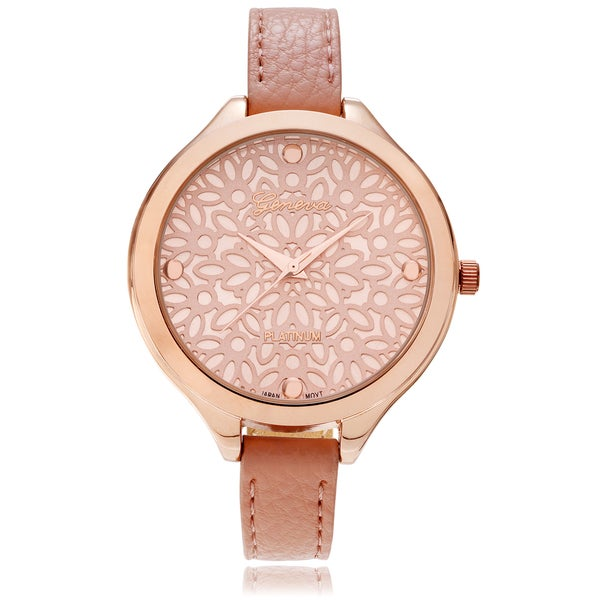 Geneva Platinum Women's Floral Dial Leather Strap Watch