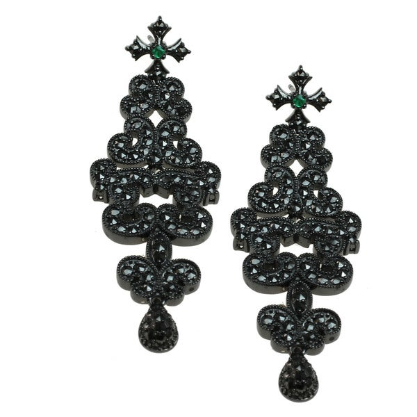 One-of-a-kind Dallas Prince Emerald and Marcasite Earrings