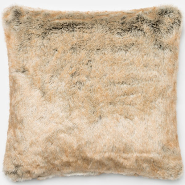 Faux Fur Beige Down Feather or Polyester Filled 22-inch Throw Pillow or Pillow Cover