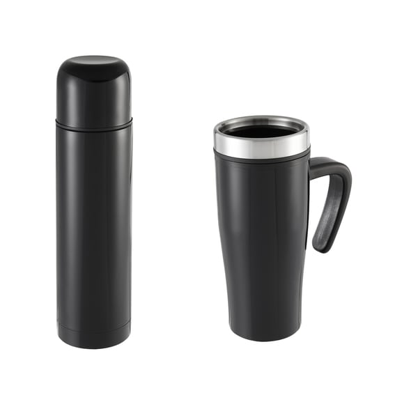 Sharper Image 2 Piece Thermal Mug & Flask Set